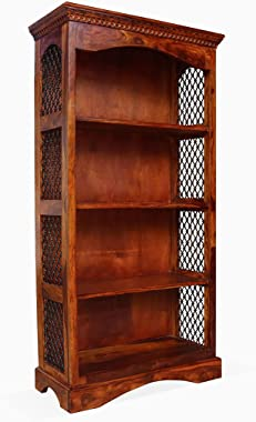 WOOD MOUNT Sheesham Wood Open Book Shelf with 4 Shelf Books Almirah Stand Solid Wooden Books Rack Storage Furnitures for Home