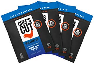 Chef's Cut Real Chicken Buffalo Style Jerky - Premium Cuts, Gluten & Nitrite Free - Paleo Friendly, 2.5 Ounce (Pack of 4)