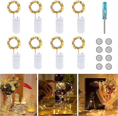 Vicloon Guirlande Lumineuse à Piles,8 Pack LED Guirlande Lumineuse,Guirlandes Lumineuses cuivre à Piles 2m avec 20 LE...