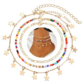 PHALIN Anklets for Women Colorful Beaded Ankle Bracelets Set Delicate Flat Chain Anklets Layered Metal Star Anklets with E...