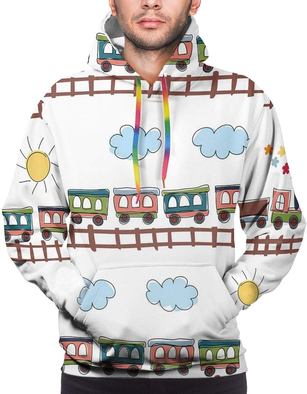 TENJONE Men's Hoodies Sweatshirts,Cartoon Style Seasonal Food Pattern with Broccoli Corn Lettuce Radish