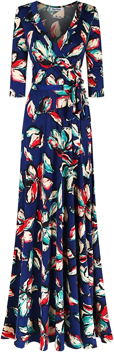 Bon Rosy Womens #MadeInUSA 3//4 Sleeve V-Neck Printed Maxi Wrap Dress