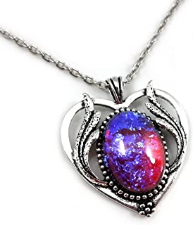 Little Gem Girl Large Mexican Opal Heart Necklace Fire Dragons Breath Art Deco Pendant Silver 20 Inch Chain