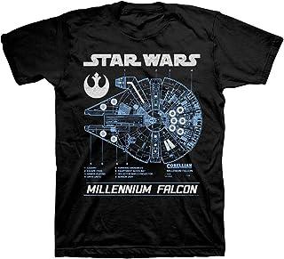 تي شيرت أسود للرجال مطبوع عليه Star Wars The Millennium Falcon