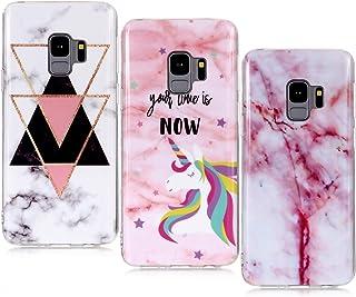 comprar comparacion YKTO Funda para Samsung Galaxy S9 2018 3 Pack Mármol 3D Premium Dibujos Contraportada Suave TPU Gel Silicona Protección ...