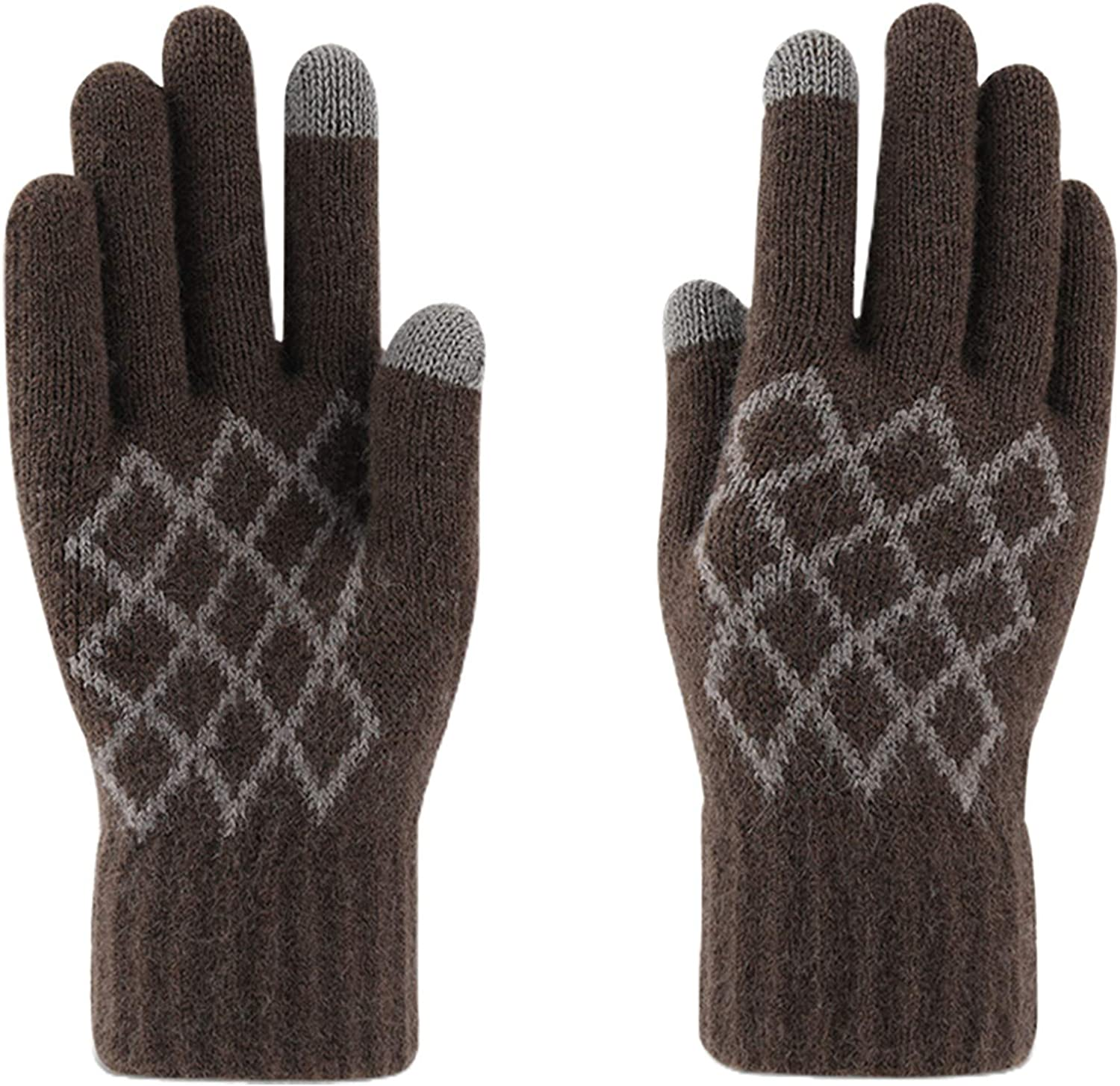 Men Winter Gloves Knitted Touchscreen Texting Glove Plaid Windproof Stretchy Warm Thermal Soft Lining Mittens