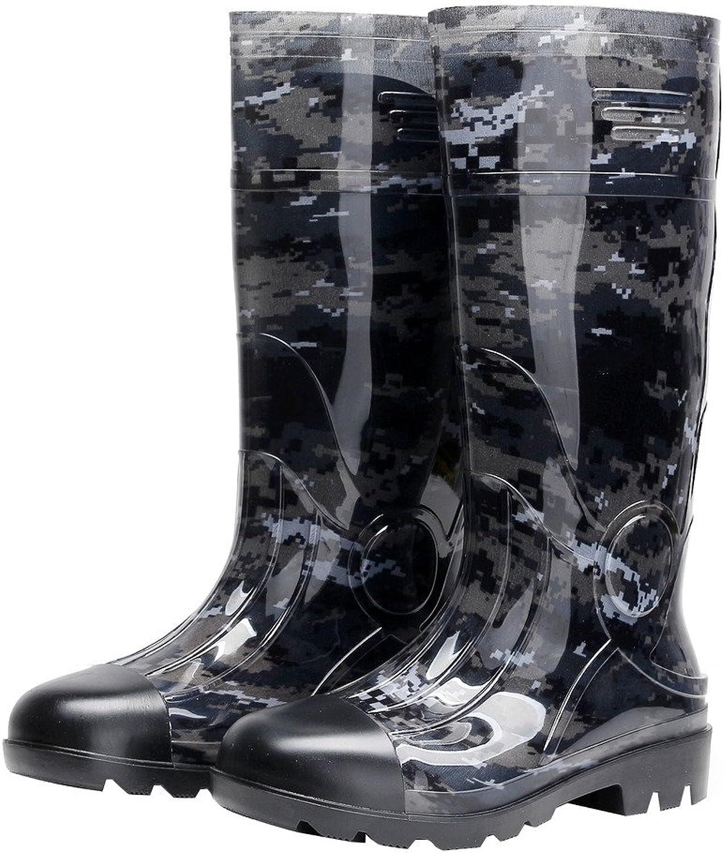 DragonTai Man Knee High Rubber Rainboots Camo Waterproof Rubber Boots for Garden Man Rain Footwear Size