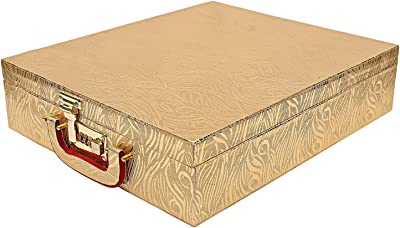 Kuber Industries Wooden Five Rod Bangle Storage Box (Gold) -CTKTC08676