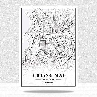 JWJQTLD Impression sur Toile Thaïlande Cartes De La Ville Peintures sur Toile Affiches Vintage Impressions d'art Décor À L...
