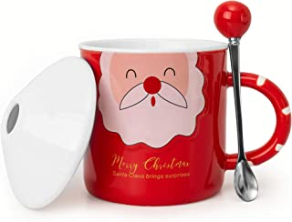 LanHong Santa Claus Mug Ceramic Coffee Juice Milk Mug with Lid and Spoon Cute Christmas Gift for Child Girl Boy(Red)