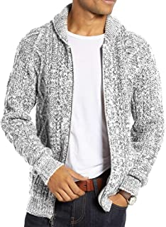 Mens Shawl Neck Sweater Cardigan Zip Up Twisted Pattern Ribbed Cable Knit Casual Sweater Jacket