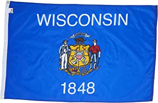 Allied Flag - 2' x 3' Outdoor Nylon Wisconsin State Flag - Made in USA - Vivid Color and Fade Resistant - Reinforced Hem and Brass Grommets
