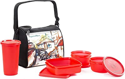 Signoraware Malgudi Plastic Lunch Box Set, 4-Pieces, Red
