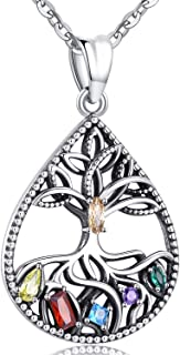 Aniu Silver Necklace for Women, Family Tree of Life Pendant - Teardrop Jewelry Gift Ideas