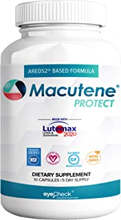 Natural Eye Health Vitamins with Bilberry Zeaxanthin Lutein Sample Macular Support Supplement, Formula Based On AREDS2® Clinical Trials Plus Carotenoids Quercetin EGCG Macutene® Protect (10 Capsules)