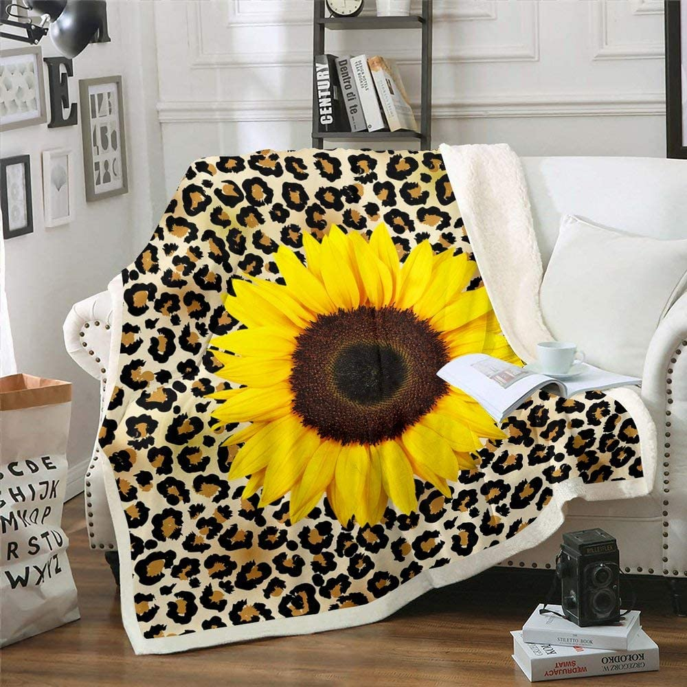 Leopard store Bed Blanket Sunflower Sherpa 1 year warranty Abstract An Fleece