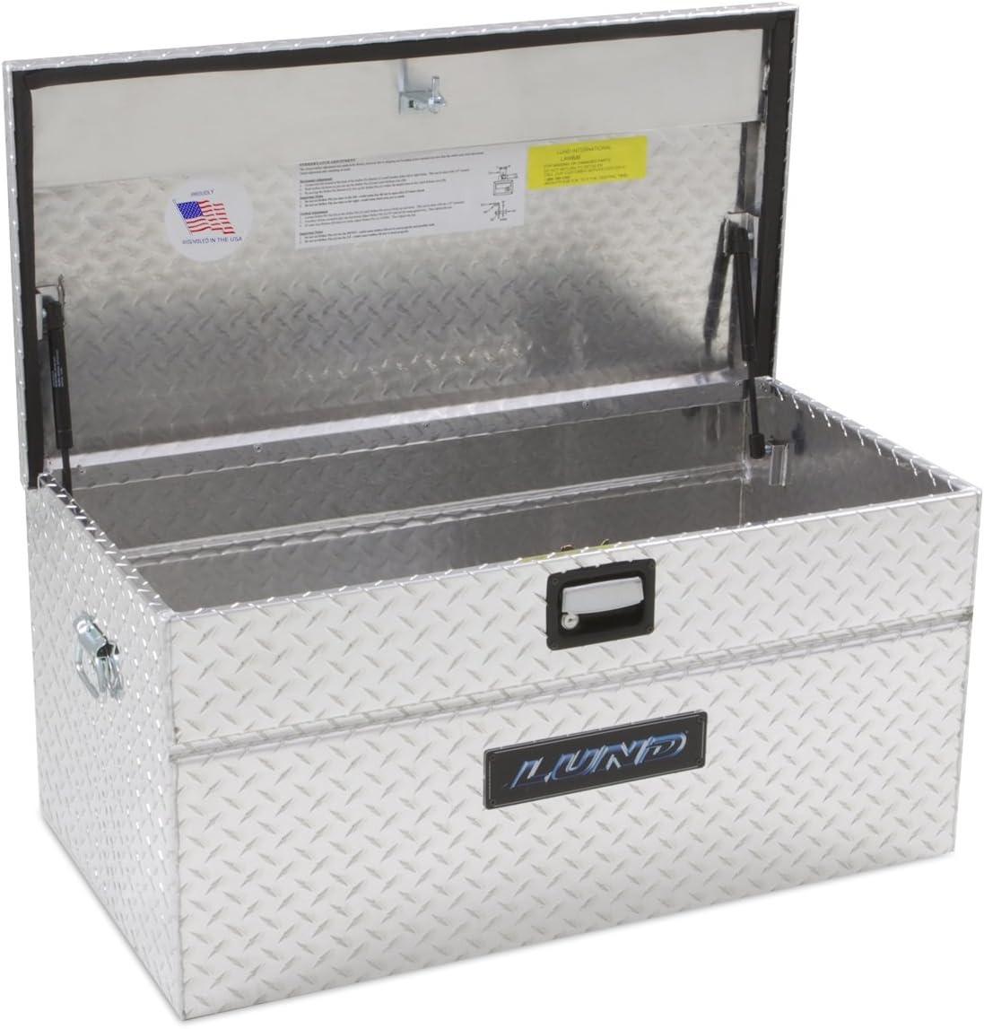 Lund 9436T 36-Inch Aluminum Flush Mount Single Lid Truck Tool Box, Diamond Plated, Silver