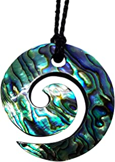 Koru Necklace - Hawaiian Jewelry - Large Paua Abalone Shell Pendant on Black Adjustable Cord, 32 Inch