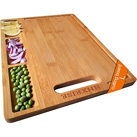 HHXRISE Large Organic Bamboo Cutting Board For Kitchen, With 3 Built-In Compartments And Juice Grooves, Heavy Duty Chopping Board For Meats Bread Fruits, Butcher Block, Carving Board, BPA Free…