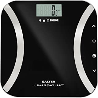 Salter Ultimate Accuracy Digital Analyser Scales - Measure 50g Increments, Step-On Instant Reading of Weight, Body Fat, Wa...