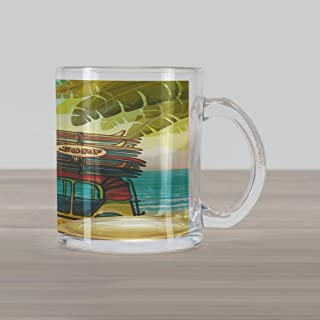 Lunarable Beach Glass Mug, Auto Rickshaw Tuk-Tuk Carrying Colorful Surfboards on Tropical Coast with Palm Trees, Printed Clear Glass Coffee Mug Cup for Beverages Water Tea Drinks, Multicolor