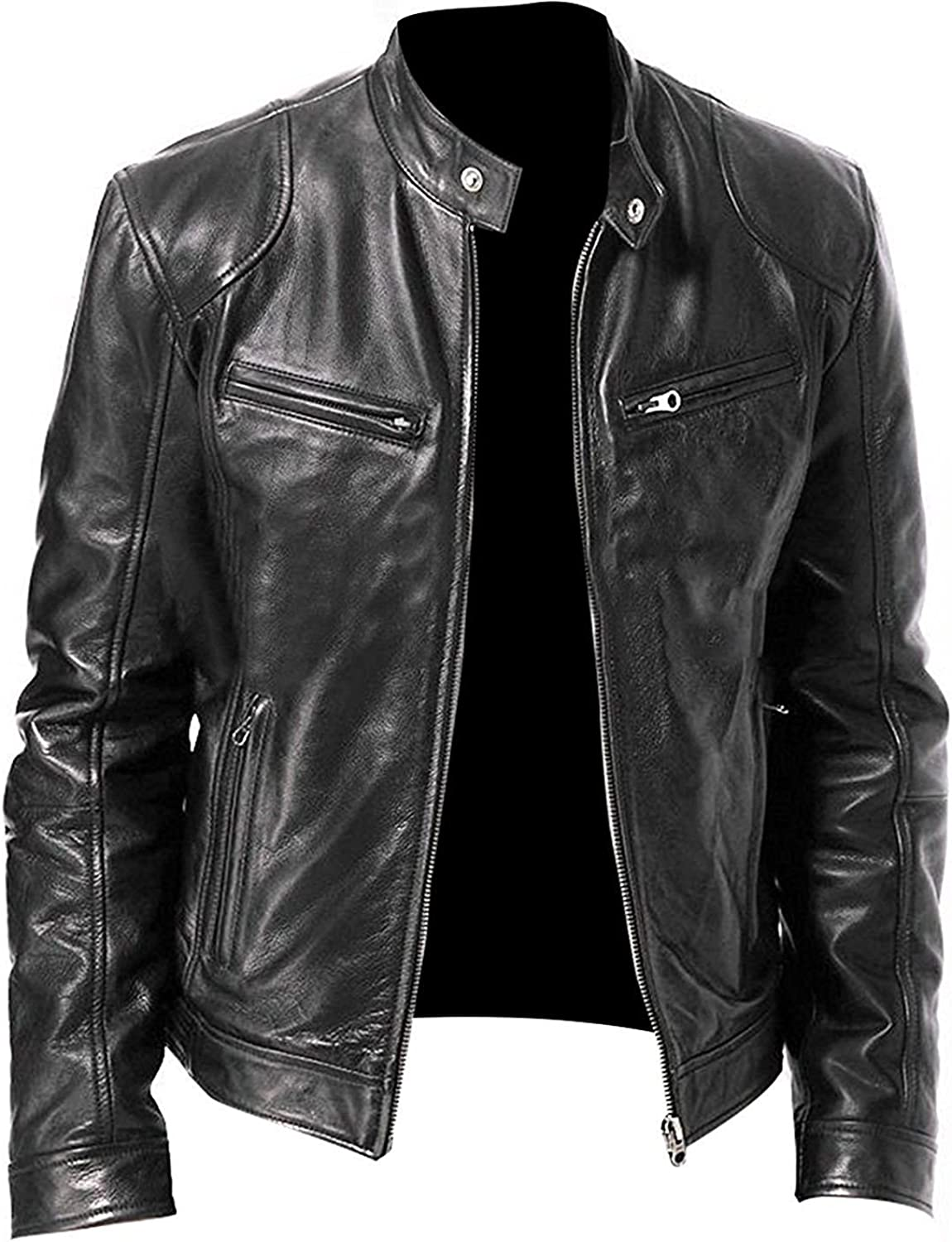 Mens Cafe Racer Brando Vintage Motorcycle Retro Biker Leather Outerwear Jacket Collection Real/Faux