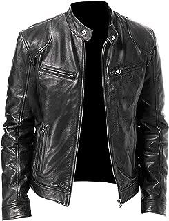 Mens Vintage Cafe Racer Retro Biker Casual Motorcycle Leather Jacket Black/Brown