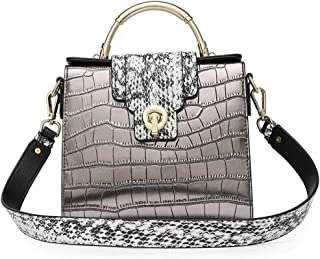 Mens Bag Messenger Bag, Green Simple Retro Lock Crocodile Kelly Bag Square Leather Shoulder Bag High capacity