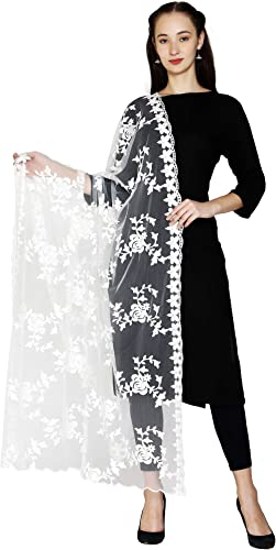 HARI MADHAV DESIGN Women's Nylon Net Dye-ble Embroidered Dupatta White Free Size