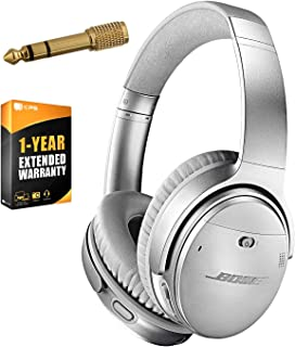 Bose QuietComfort 35 (Series II) Wireless Headphones, Noise Cancelling, with Alexa Voice Control - Silver + 1 Year Extended Warranty + Deco Gear 6.35mm to 3.5mm Adaptor Value Bundle