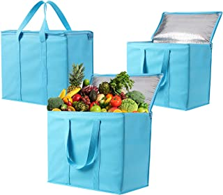 3 Pack Insulated Reusable Grocery Bag by VENO, Durable, Heavy Duty, Extra Large Size, Stands Upright, Collapsible, Sturdy Zipper, Made by Recycled Material, Eco-Friendly (Cyan, 3)