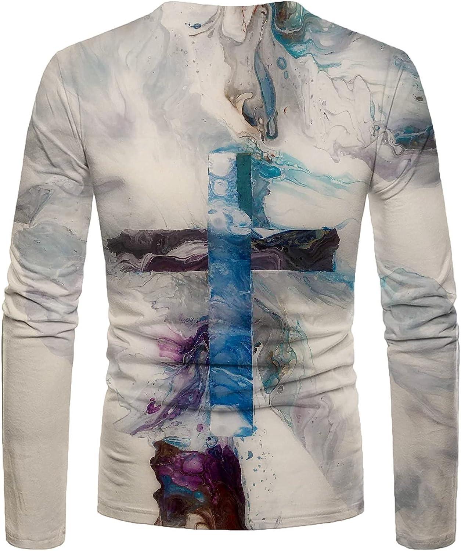 2021 Men's Autumn Vintage Long Sleeve Shirts, Casual Fashion Basic Crew Neck Shirt, Loose Comfortable Tunic Tops