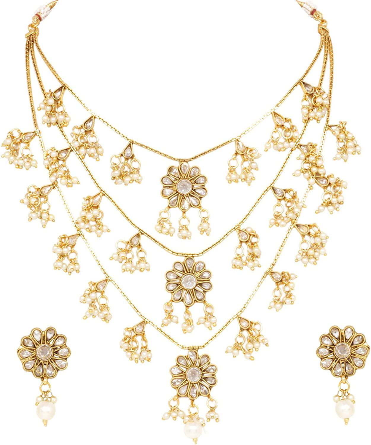 Sanara Indian Bollywood Gold Plated Exclusive Crystal 3 Line Rani Haar Necklace Earrings Set Jewelry