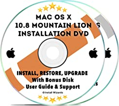 Mac OS X 10.8 Mountain Lion Install Disc Full Bootable Installation & Recovery OSX System & Bonus DVD w/ Software, Guides, & Downloads