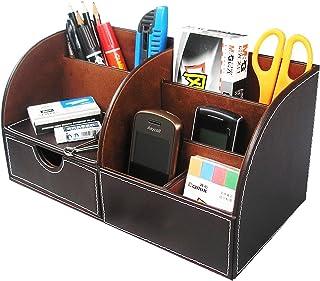 Itian PU Cuir Compartiments de rangement multifonction en Bureau, Organiseur, Collection Boîte de Rangement de Bureau Pape...