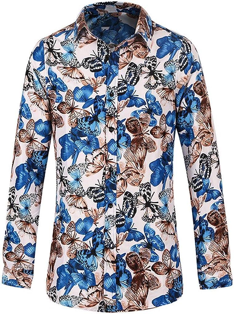 Mens Shirts, Fashion Floral Print Blouse Casual Long Sleeve Button Down Tops Hawaii Dress Shirt