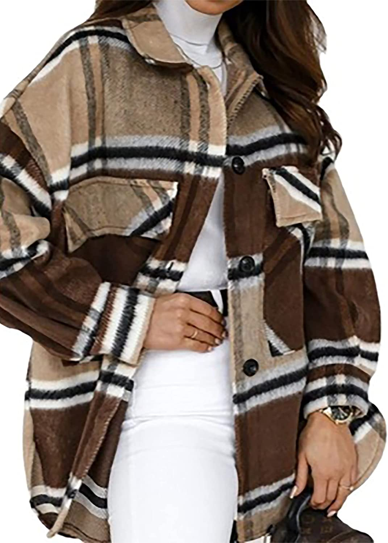 Meladyan Women Limited time cheap sale Casual Regular dealer Plaid Flannel Down Collar J Shacket Button