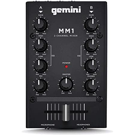 Gemini MM1 Professional Audio 2-Channel Stereo 2-Band Rotary Compact DJ Mixer with Cross-Fader and Individual Gain Control, Black