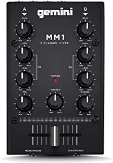 Gemini MM1 Professional Audio 2-Channel Stereo 2-Band Rotary Compact DJ Mixer with Cross-Fader and Individual Gain Control...