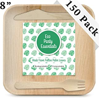 """Eco Party Essentials 8"""" Palm Leaf Plates Set (150 Pack) 