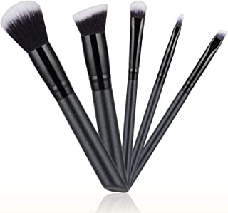 [Updated 2020 Version] Makeup Brushes Set, 5pcs Makeup Brushes Cosmetic Foundation Powder Concealers Eye shadows Lip Make up Tools, Easy to Carry - Black