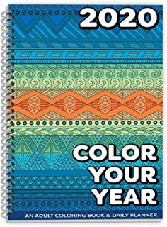 Dated 2020 Adult Coloring Book Daily Planner - Calendar, Spiral Bound, Designer Planning Organizer 5.5 x 8.5 Inches. Gift Sister, Mother, Busy Grown Up