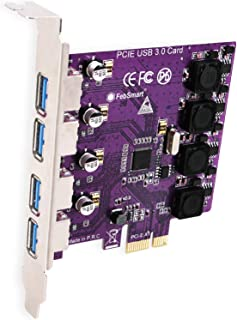 FebSmart 4 Ports USB 3.0 Superspeed 5Gbps PCI Express Expansion Card for Windows Server,XP,Vista,7,8,8.1,10 PCs-Build in Self-Powered Technology-No Need Additional Power Supply(FS-U4-Pro Purple)