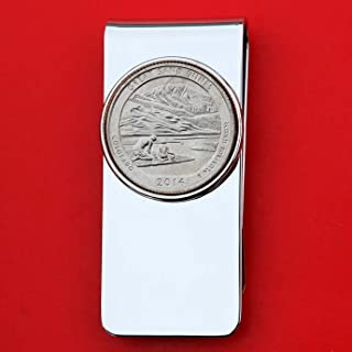 US 2014 Colorado Great Sand Dunes National Park Quarter BU Uncirculated Coin Solid Brass Silver Tone Money Clip New - America the Beautiful