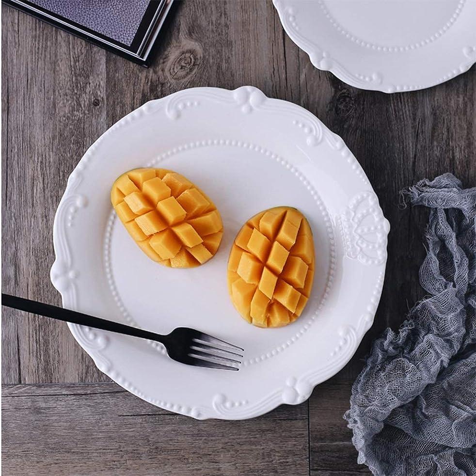 ハンディキャップなので明確にLXX-プレート ヨーロッパのエンボスクラウンプレート、セラミックホームフルーツプレート朝食プレート西部ステーキプレートスナックプレート (Color : 白, サイズ : 20X2.2CM)