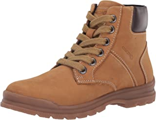 Geox Boys' NAVADO 8 Nubuck Work Boot Side Zip, Yell EU/13 Construction, Yellow/Brown, 31 M EU Little Kid (13 US)