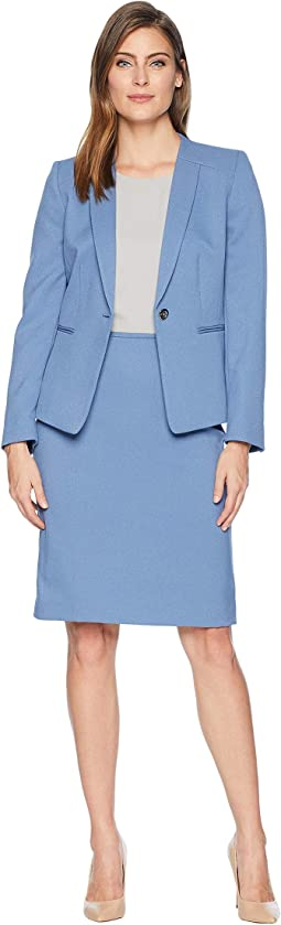 Collarless Inset Lapel One-Button Besom Pocket Twill Skirt Suit