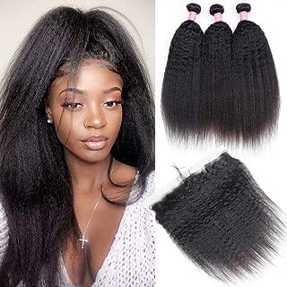 Odir Brazilian Human Hair Kinky Straight Bundles With Frontal (16 18 20 + 14) Yaki Straight 3 Bundles With 13x4 Lace Frontal Ear to Ear 8A Unprocessed Brazilian Virgin Human Hair Natural Color
