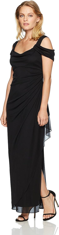 Alex Evenings Womens Petite Long Mesh Cold Shoulder Dress Dress
