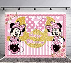 Pink Minie Mouse Backdrop Girls Birthday Party Background Baby Shower Photo